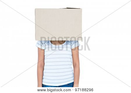 Woman with box over head on white background