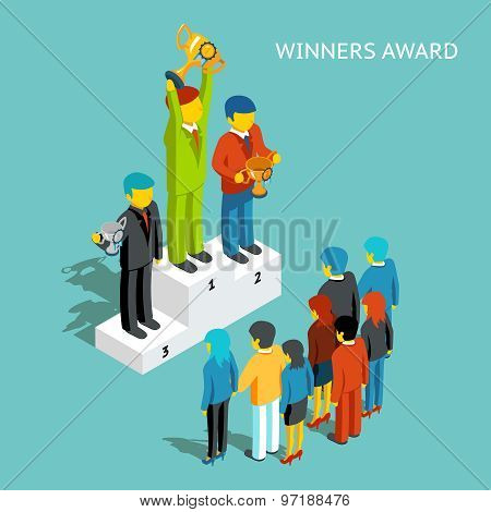 Business award winners. Successful business people with cups, 3d isometric vector illustration