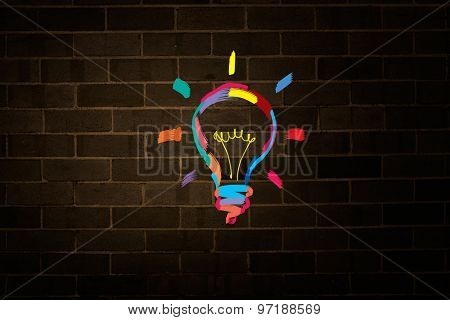 Drawn colorful light bulb on dark background