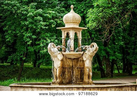 Elephants Fountain in park. Nalchik, Russia