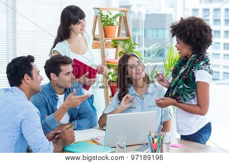 Discussing business team in a meeting at office