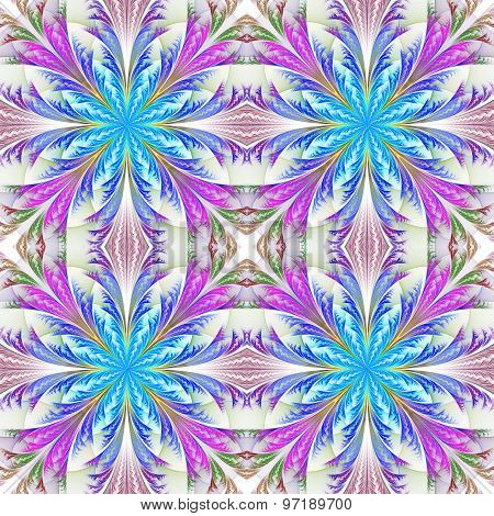 Beautiful Pattern From Fractal Flowers. Blue And Purple Palette. Collection - Frosty Pattern.