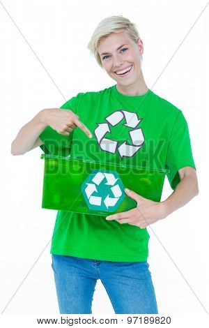Pretty blonde wearing a recycling tshirt holding recycle box