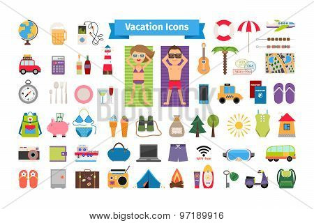 Vacation and summer rest flat icons