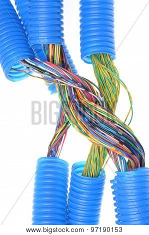 plastic pipe with electrical cable