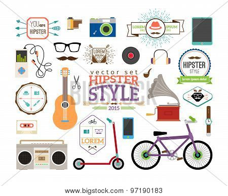 Hipster infographics elements and labels