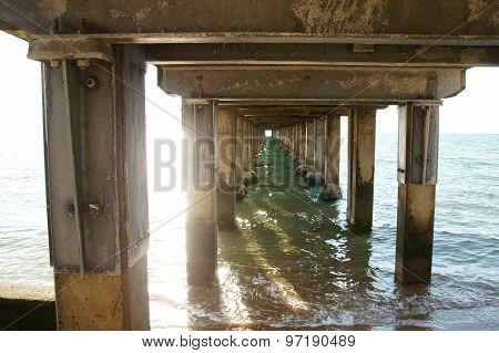Under a pier.