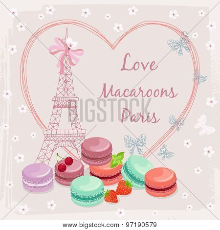 Poster with french macaroon cakes and the Eiffel Tower