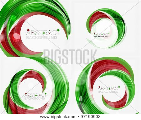 green swirl line abstract background. Modern layout for your message, slogan or brand name