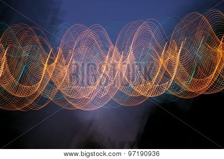 Abstract Night Light Wave Line