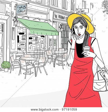 Urban Woman In Street Cafe
