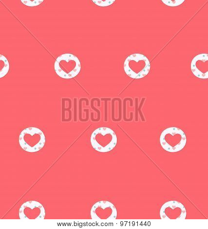 Seamless Pattern With Heart Isolated On Pink