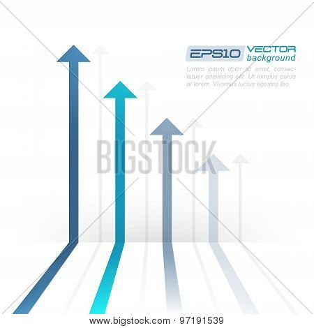 Vector illustration with arrows perspective and shadow on a white background