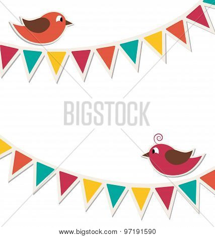 Two Cute Birds With Flat Buntings Garlands Isolated On White