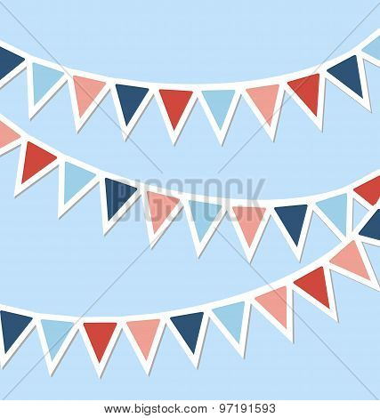 Set Of Multicolored Flat Buntings Garlands Isolated On Blue