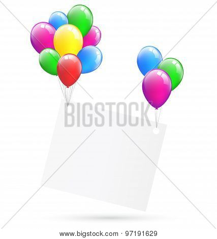 Festive Paper Frame Hang On Inflatable Bright Air Balls Isolated On White