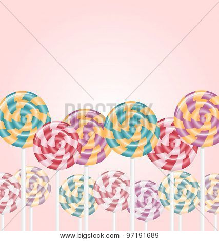 Multicolored Lollipops On Pink