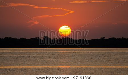 Sunset in Amazon river