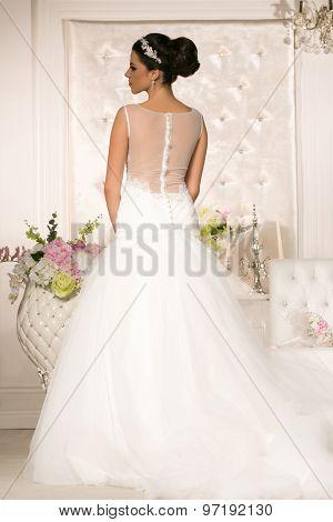 Attractive Brunette In Wedding Dress