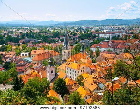 Aerial view of St. James Church in Ljubljana
