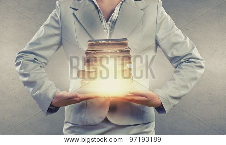 Close up of businesswoman holding in hands cloud computing concept