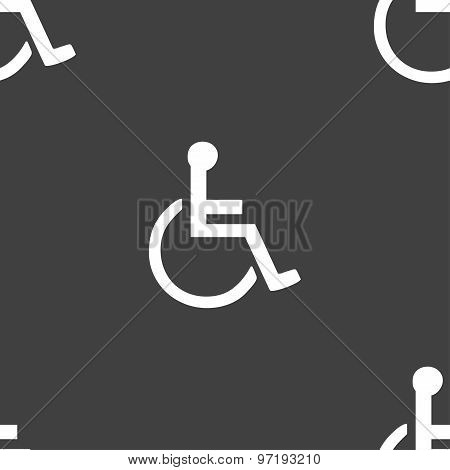 Disabled Icon Sign. Seamless Pattern On A Gray Background. Vector