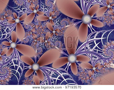 Flower Pattern In Fractal Design. Blue And Brown Palette. Computer Generated Graphics.