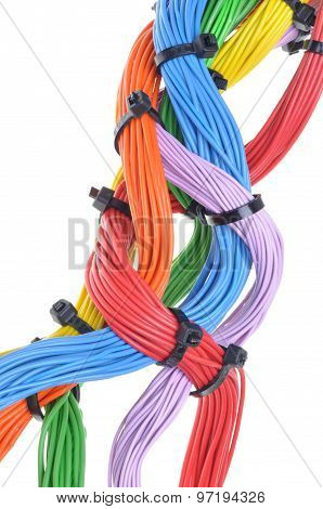 Multicolored electrical cables isolated