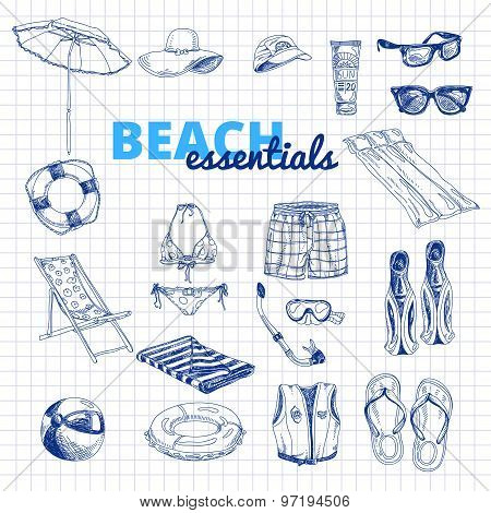 Hand drawn vector illustration. Beach essentials set.