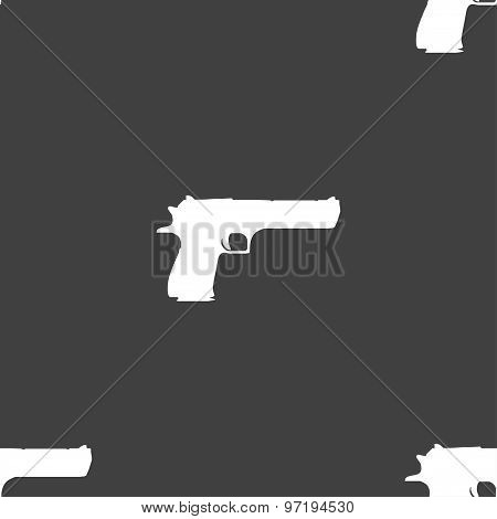 Gun Icon Sign. Seamless Pattern On A Gray Background. Vector