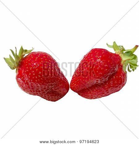 Two Strawberries Close Up On White Background.