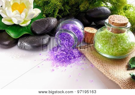 Natural Bath Salts Close Up On White Table