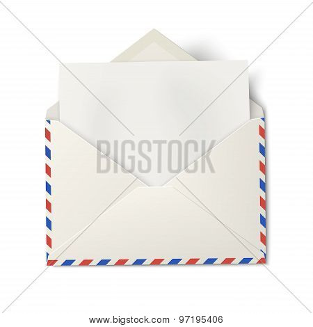 Opened Air Mail Envelope With White Paper Inside Isolated