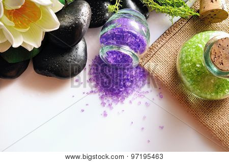 Natural Bath Salts On White Table Top View