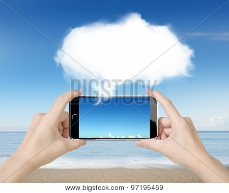 Woman Hands Holding Smart Phone With White Cloud