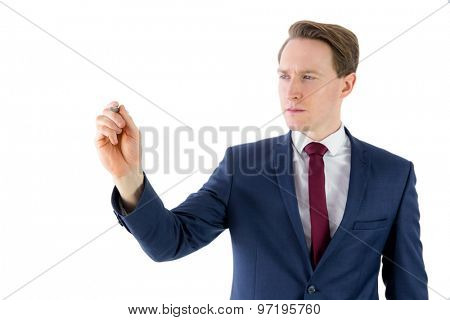 Businessman writing something with pen on white background