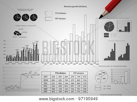 Market concept with pencil drawing graphs and diagrams