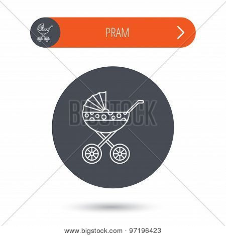 Pram icon. Newborn stroller sign.