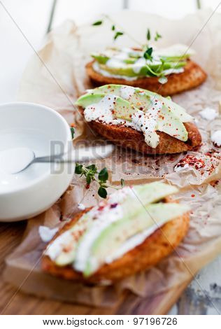 Avocado toast with cream cheese and chili