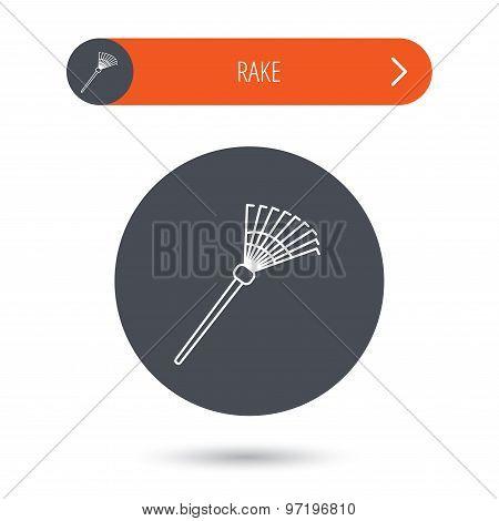 Rake icon. Gardening equipment sign.