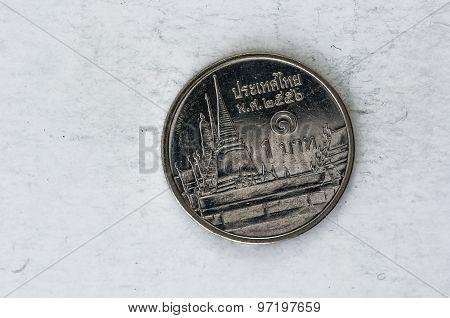 Thai Satang Baht Coin With King Bhumibol Adulyadej