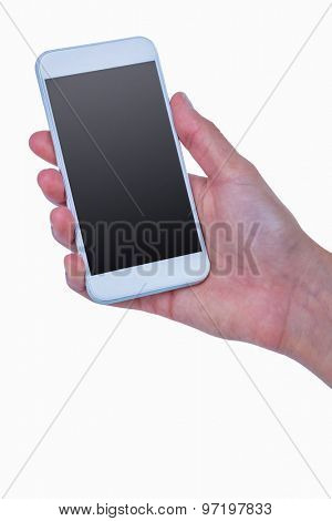 Close up of woman holding smartphone on white background