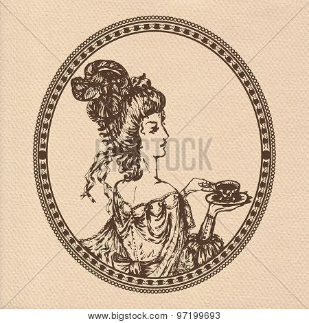 Vector Illustration Of Vintage Lady