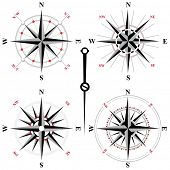 stock photo of wind instrument  - 4 black and white wind rose icons - JPG