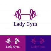 Vector ribbon dumb-bell lady gym logotype. Modern logo in overlapping technique poster
