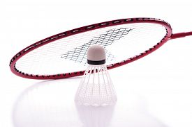 picture of shuttlecock  - Badminton racket and shuttlecock with reflections against white background - JPG