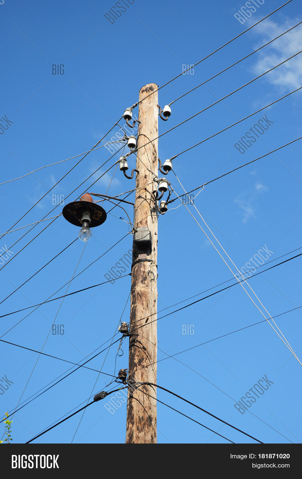 Wood Power Poles Sizes : Old wooden electric post power pole image photo bigstock