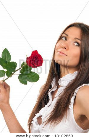 Woman Holding Red Rose Flower In Hand