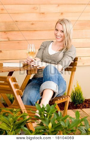 Garden Happy Woman Enjoy Glass Wine Terrace