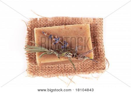 Handmade soap and a branch of lavender